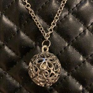 Buckle Silver Floral Jingle Ball Necklace